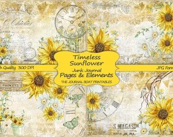 Junk Journal Kit, Timeless Sunflower, Vintage Ephemera, Collage Sheets, Digital Download Kit, Printable Paper, Journal Pages, Shabby Chic