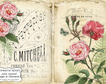 Junk Journal Kit, Romantic Roses, Pink roses, Red roses, Shabby Chic, Journal Pages, Printable, Ephemera, Collage Sheet, Digital Download
