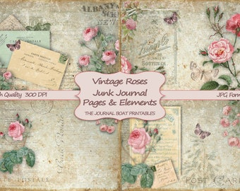 Junk Journal Kit, Vintage Roses, Printable Paper, Shabby Chic, Journal Pages, Printable, Ephemera, Collage Sheet, Digital, Download