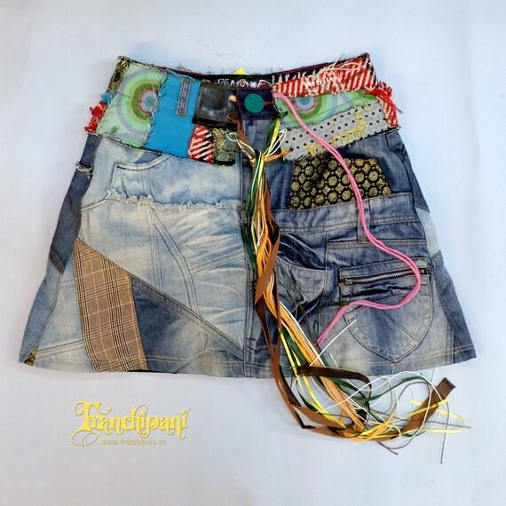 Vintage Denim Skirt, Desigual, Patchwork, Colorful