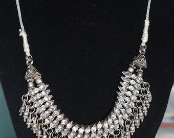 Vintage Upcycled Rhinestone Necklace, Silver Rhinestone Necklace on Silver Cord, silver necklace