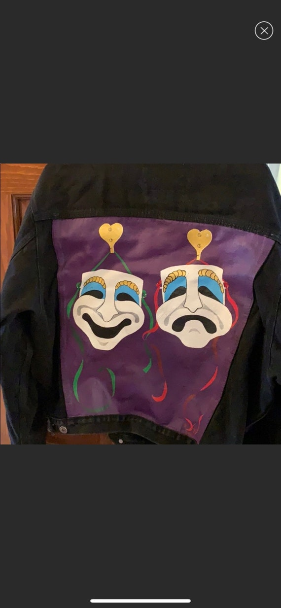 comedy and tragedy painted denim jacket