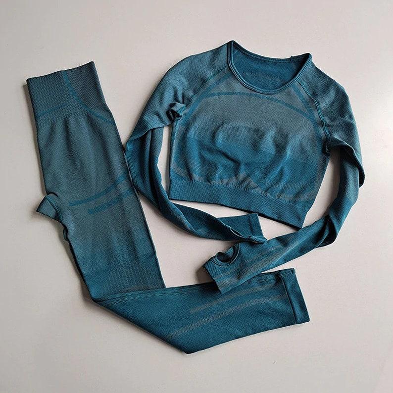 2 PCS Seamless Yoga Set Women Long Sleeve Linen Crop Top And High Waist Leggings Pants Gym Wear Sports Clothes