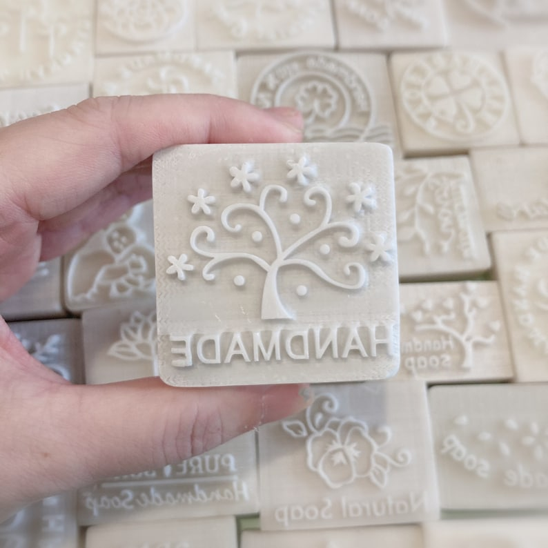 S003 Stars Tree with Text Handmade Soap Stamp Handmade Cookie Stamp Resin Stamp