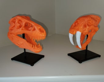 Sparkly Fluorescent Green Saber-Tooth Tiger Skull with Display Stand