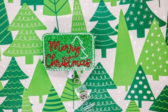 White Christmas Tree Glitter Vinyl Badge Reel