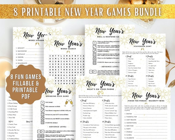 8 Printable Virtual New Year Party Games  Family Countdown