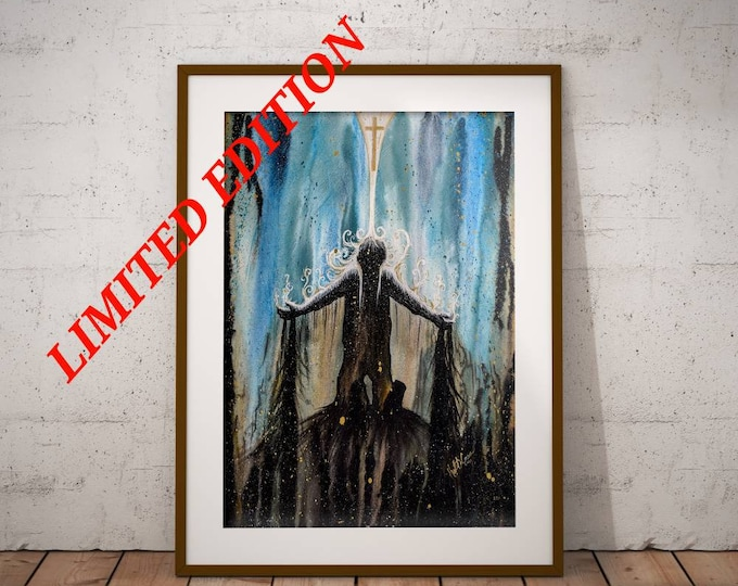 Featured listing image: Redeemed - Original Christian Artwork LIMITED EDITION Giclee Print Jesus Painting Wall Art by Decosa Studio