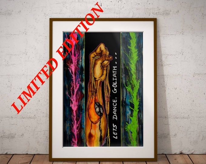 Let's Dance, Goliath - Original Christian Artwork LIMITED EDITION Giclee Print Jesus Painting Wall Art by Decosa Studio