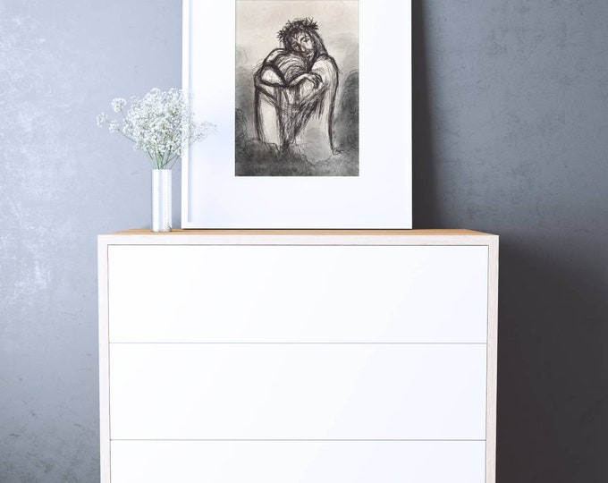 Printable Original Christain Wall Art of Jesus Comforting Downloadable Digital Painting Download Grief Sympathy