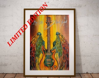 Play Like David Played - Original Christian Artwork LIMITED EDITION Giclee Print Jesus Painting Wall Art by Decosa Studio