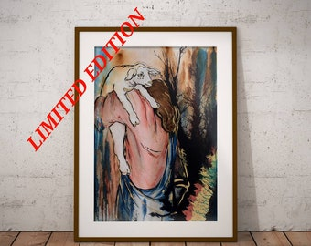 The Good Shepard - Original Christian Artwork LIMITED EDITION Giclee Print Jesus Painting Wall Art by Decosa Studio