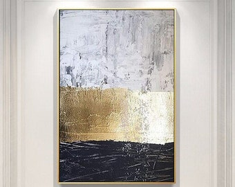 Abstract painting on canvas Modern artwork gray painting canvas gold art painting Gold Leaf painting black and white painting black painting