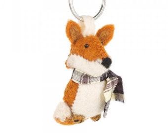 Handmade Needle Felted Cosy Fox Keyring