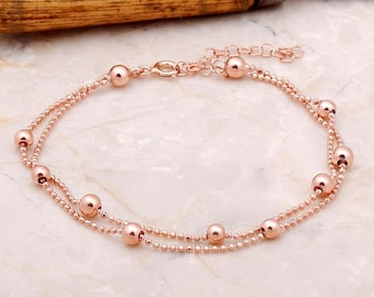 Rose gold,silver plated 925 Sterling Silver Bracelet,Engagement gift,Bridesmaid Bracelet,Dorica Balls Bracelet,Wedding gift bracelet