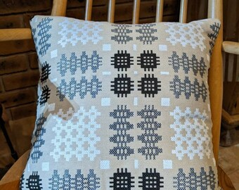 Welsh blanket / tapestry cushion cover.