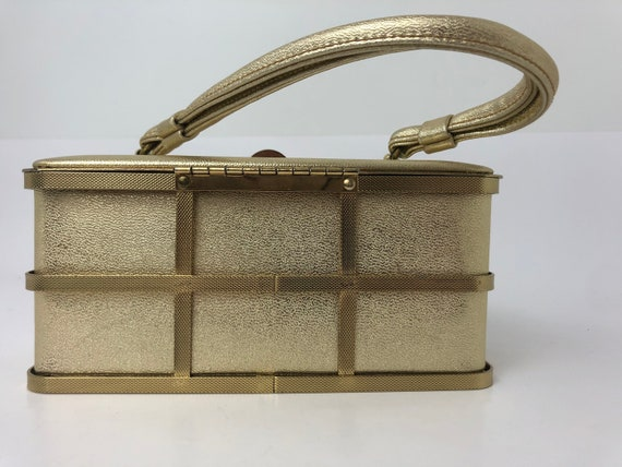 1950s ETRA Gold Box Purse Metal Cage Purse, Vintag