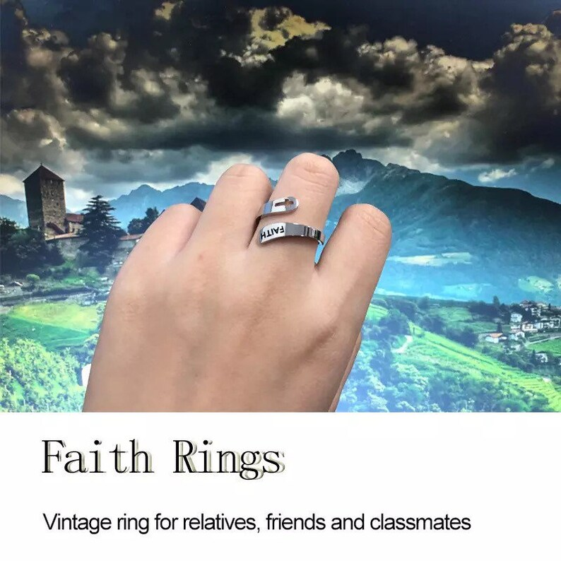Faith adjustable Ring Vintage cross letter round on finger faith ring.
