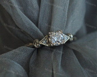 Art Deco Vintage Solid Gold Engagement Ring,Ethical European Cut Diamond Engagement Ring, Sterling Silver Cubic Zirconia Ring For Valentine