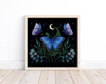 Giclée Print Poster Blue Morpho Butterfly Art Print Original Illustration Boho Wall Decor Handmade Flora and Fauna Moonlit Magical Wicca