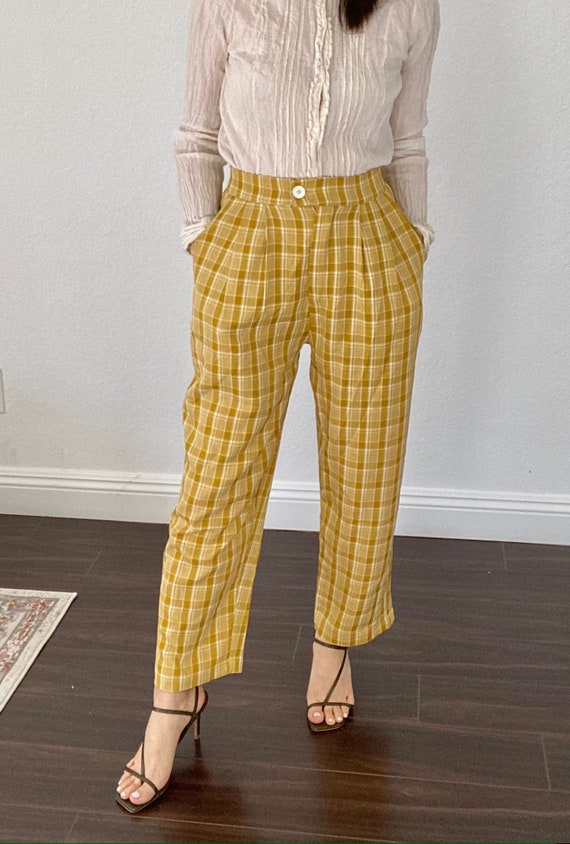 Yellow plaid pants - high waisted pleated pants -