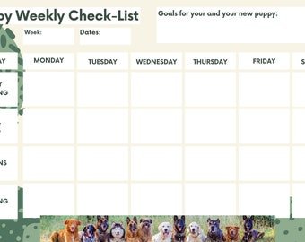 Puppy Check-list, training check-list, printable checklist, weekly check-lsit