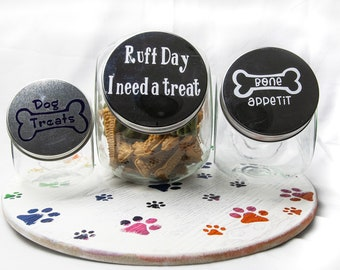 Treat jars, dog and cat treat jars, small medium large treat jars, custom treat jars, custom glass jars