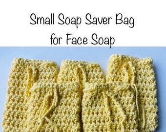 Face Soap Saver and Scrubber | 100% Cotton Soap Saver Bag | Handmade Cotton Crochet Soap Scrubber Bag | Small Soap Buddy| Eco Friendly