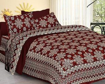 King Size 240TC Jaipuri Cotton Bedsheet With 2 Pillow Cover Set Bedding Set 3Pc