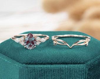 vintage Alexandrite engagement ring set Pear shaped women rose gold marquise cut moissanite unique diamond curved wedding band Bridal set