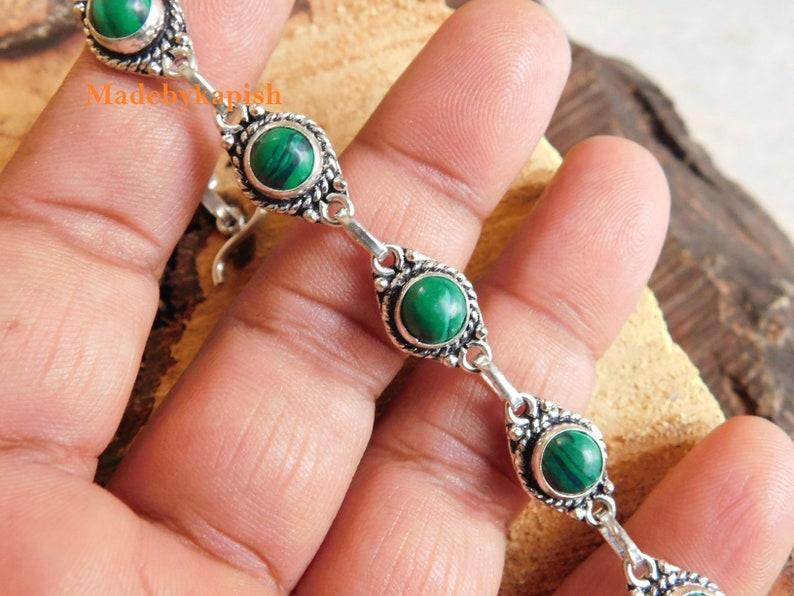 Green malachite bracelet*sterling Silver bracelet*handmade bracelet*gifts*birthstone bracelet*adjustable bracelet*gift for women*Malachite*