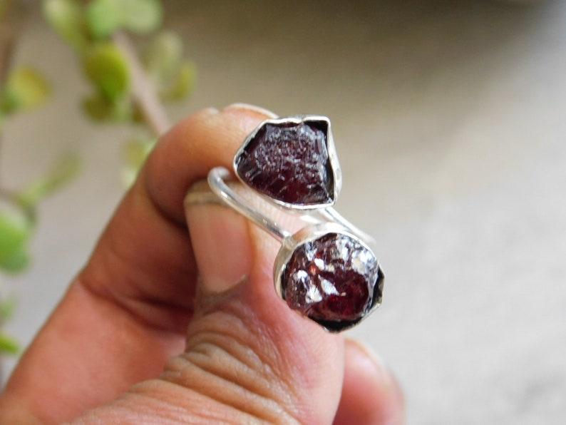 Adjustable raw garnet gemstone Ring*sterling silver ring*raw gemstone ring*double stone ring*Rough stone ring*Rough ring*birthstone ring*M12