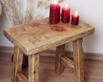 Antique Rustic Stool, Small wooden stooll, stool for children, Plant Stand, cup holder, Blumenstand, stool bench, wood bench,square bench