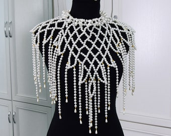 Fringed  Pearl Bridal Shoulder Necklace, Adjustable Shoulder Jewelry,Art Deco Body Chain