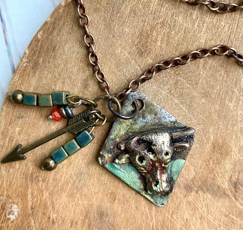 Bull necklace Taurus bull jewelry western bull Taurus the bull jewelry western necklace