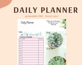 Printable daily planner, digital daily planner, hourly daily planner, printable hourly schedule, daily planner with cute succulent theme