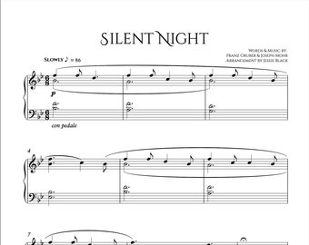 Silent Night Piano Sheet Music, Advanced Piano, Digital Sheet Music, Piano Sheet Music, Christmas Carols, Christmas Piano Solo, PDF Music