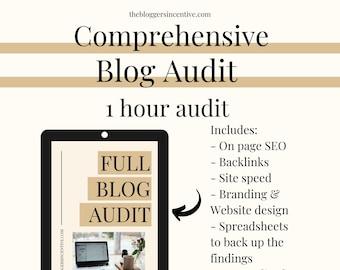 1 hour FULL comprehensive blog audit | Full blog audit for bloggers | PDF Blog audit | I will complete a full content blog audit