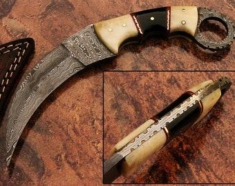 Beautiful handmade Damascus karambit knife handle made of camel bone and buffalo horn