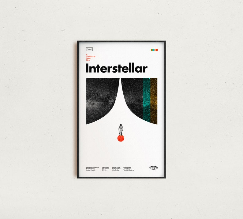 Retro-Modern Matthew McConaughey Art Print Space Print INTERSTELLAR Vintage Inspired Poster Midcentury