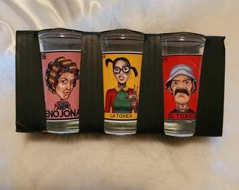 La chilindrina Loteria shotglasses