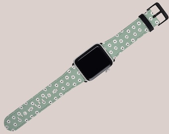 DITSY DAISY Apple Watch Strap Sage Green   Floral   38mm 40mm 42mm 44mm   iWatch Band   Series 1 2 3 4 5 6 SE   Vegan Faux Leather