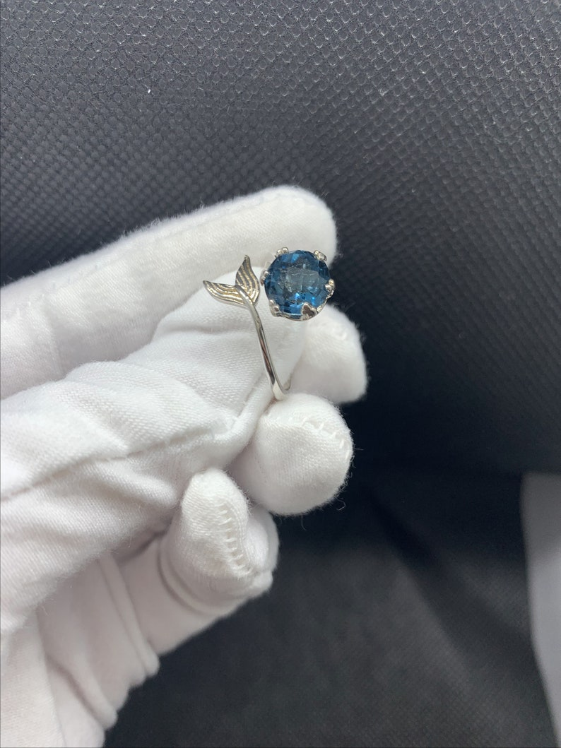 Natural 7x7mm All Clean London Blue Topaz Little Mermaid Cocktail Gemstone Adjustable Ring Sterling Silver 18K White Gold Plate November