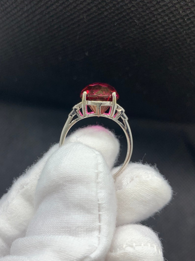 Natural 10x10mm All Clean Ruby Red Topaz Firework Cocktail Statement Gemstone Adjustable Ring Sterling Silver 18K White Gold Plate November