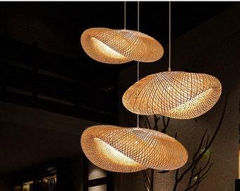 Modern Bamboo Weaving Light - Droplight-Ceiling Light - Bamboo Hanging Light - Handmade Lampshade - Livingroom/ Kitchen/ Bedroom/Restaurant