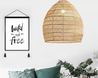 Rattan Pendant Lamp Shade - Vintage Style - Woven Lampshade - Rope Lampshade - Bamboo Pendant Light -Ceiling Light - Handknitted Lamp
