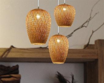 SET 3 LAMPSHADE Bamboo Pendant Light - Droplight-Ceiling Light - Pendant Light - More Sizes Options