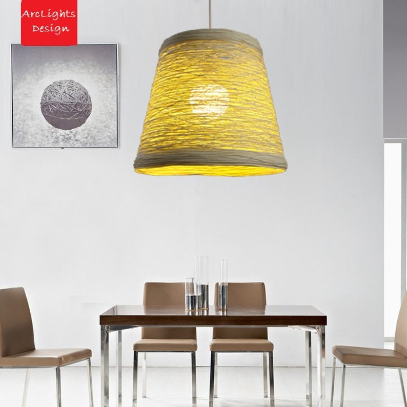 Modern Bamboo Rattan Bell Shape Light Handmade  Hanging image 0
