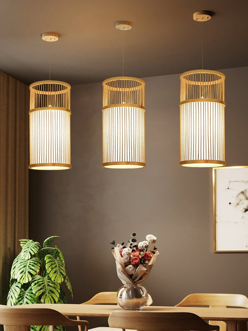 New Model Bamboo Pendant Light Hanging Lampshade Ceiling image 0