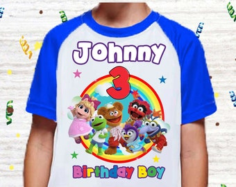 Any Color Gift Customize Muppet Babies Birthday Boy Shirt Animal Personalized Funny Shirt